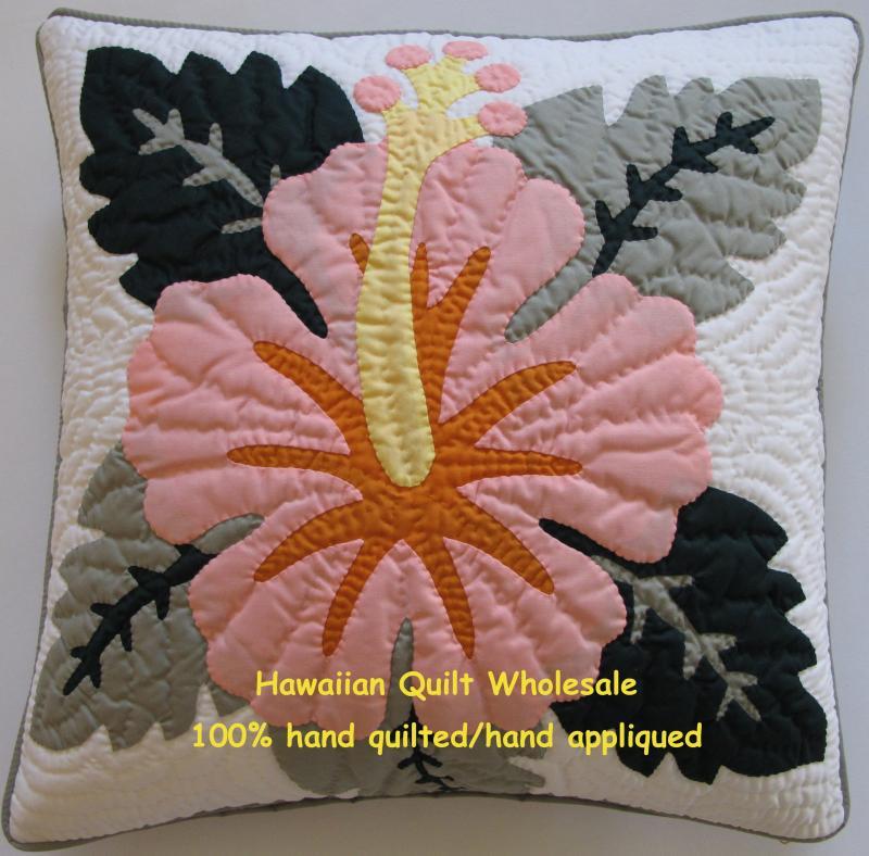 hibiscuspeach_1.jpg : hawaiian quilt pillow covers - Adamdwight.com