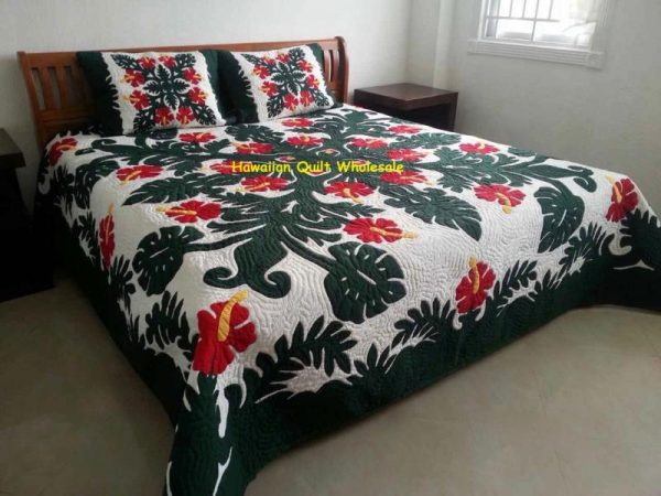 Hibiscus Fern Bedspread BGR