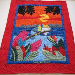 Sunset Tropical Flowers Baby Blanket RE