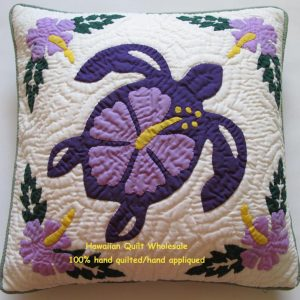 "Sea Turtle Hibiscus Pillow Covers PL16 (16"" x 16"")"
