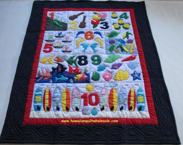 Hawaiian Style Numbers Baby Blanket NBRE
