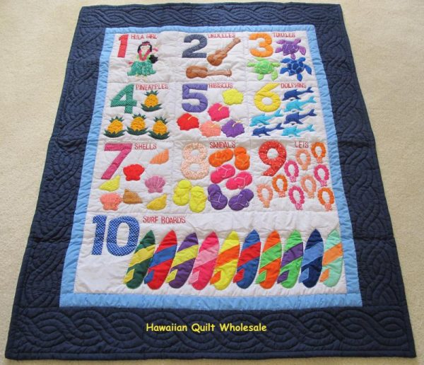 Hawaiian Numbers Baby Blanket NBLUE